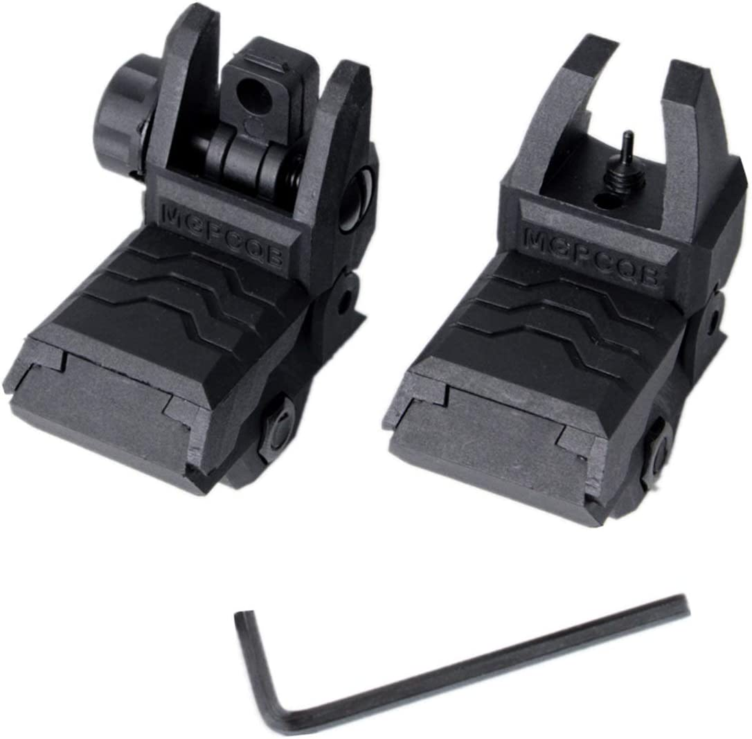 LAINSD Iron Sights, Front and Rear Flip up Folding Backup Iron Sights BUIS Set for Picatinny Rail and Weaver Rail, Airsoft