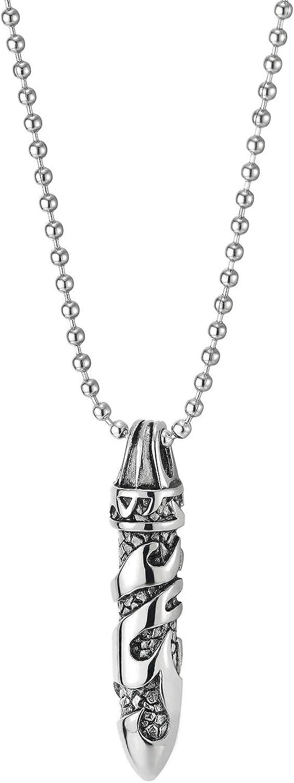 Bola Cadena 60CM COOLSTEELANDBEYOND Estilo Retro Vintage Tribal Tatuaje Gr/áfico Bala Collar con Colgante de Hombre