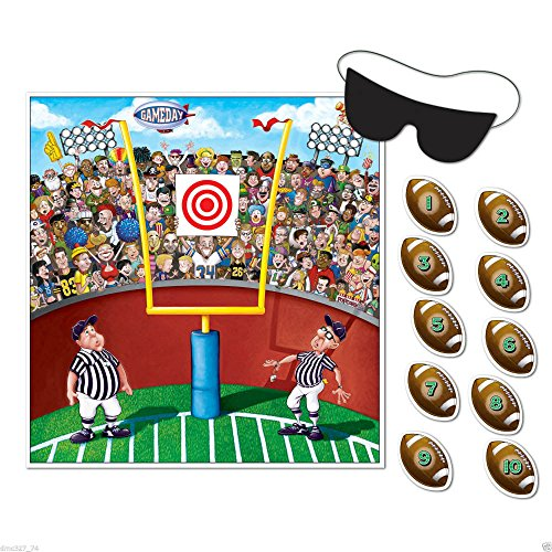 Super Bowl Party Games - Football Superbowl Party Game PIN THE BALL ON THE FOOTBALL GAME for 10 Guests U.S Top Seller!