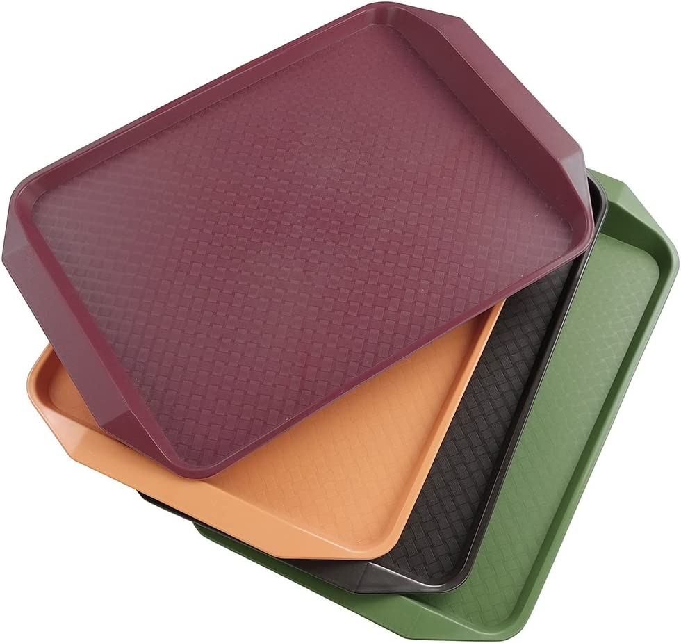 "Qsbon Plastic Fast Food Trays for Eating, 17"" x 11.8"", Set of 4"