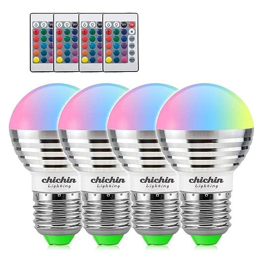 ChiChinLighting bombillas LED que cambia de color con mando a distancia 4 piezas 3 W RGB