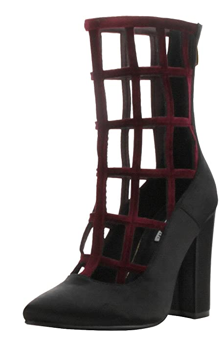 afd40046e12 CAPE ROBBIN Womens Pointy Toe Chunky Heel Caged Cutout Gladiator Ankle  Booties Boot (5.5 B