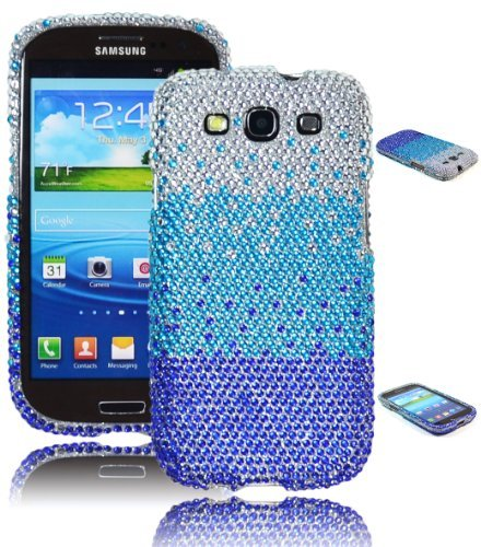 Bastex Bling Case Cover for Samsung Galaxy S3 I9300 - 2 Piece, Blue Tri-colored, Crystal Waterfall Design