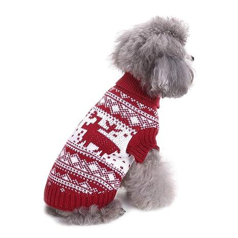 a4a564d7f159c Zunea Petit Chien en Tricot Pull de Noël Père Noël Renne pour Animal  Domestique Vêtements d