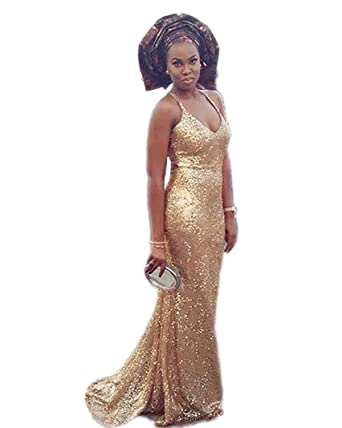 SZMX Gold Prom Dresses Long Mermaid Sweep Train Gold Sequins Evening Party Gowns Z117