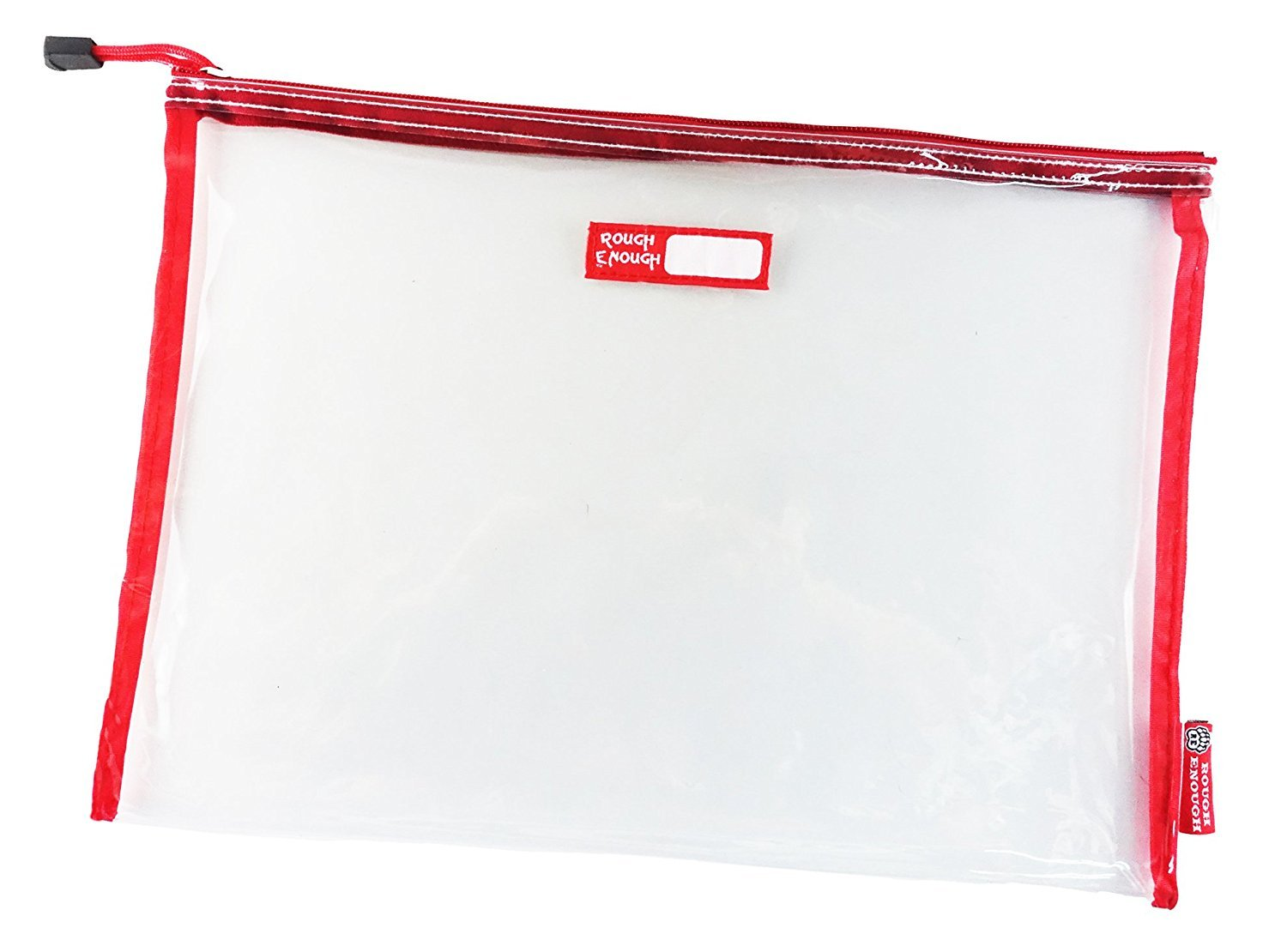 Rough Enough Durable Transparent Clear Classic Multi-Functional Big Document Pouch with Zipper A4 Size Important Storage File Holders Large Folder for Filing Organizer TSA School Business Travel by RE ROUGH ENOUGH (Image #1)
