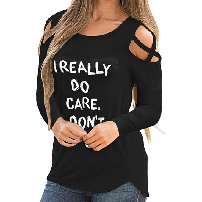 JiaMeng Mujer Camiseta, Mujeres Atractivas del Escote Redondo Estampada de Manga Larga en Tiras con Hombros Descubiertos Blusas Mujer: Amazon.es: Ropa y ...