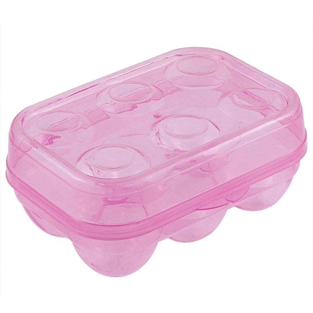 uxcell Plastic Picnic Camping Folding 6 Egg Holder Storage Box Clear Fushia a15100900ux0040