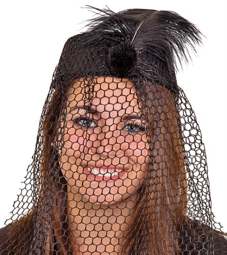 Black Pillbox Hat with Black Netted Veil and