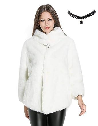 Semia Mujer Elegante Abrigos Chaquetas de Pelo Sintético de Manga Larga Cárdigan Outwear Invierno