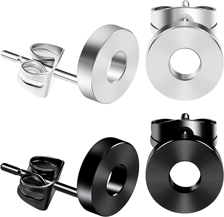 BIG GAUGES 2 Pairs Surgical Steel Black Anodized 16g Gauge 1.2mm Ear Stud Size 8mm Piercing Fake Plug Flesh Tunnel Earring Lobe BG2920