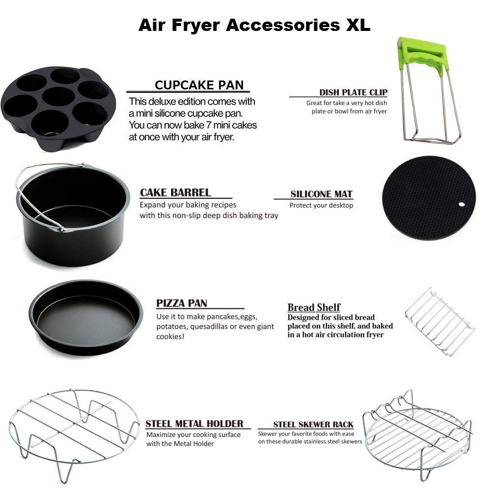 5 Piece 7 Inch Air Fryer Accessories for Gowise Phillips and Cozyna or More Brand Applicable to 3.7QT 5.3QT Air Fryer