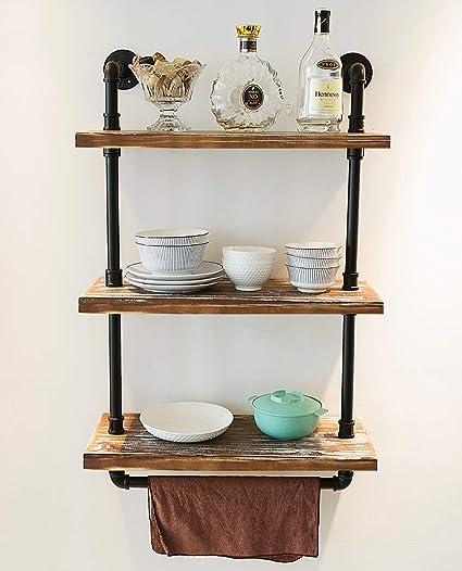 DOFURNILIM Industrial Retro Wall Mounted Iron Water Pipe Shelf - Hung  Bracket - DIY Storage Shelving Bookshelf - Wood Shelf (24\