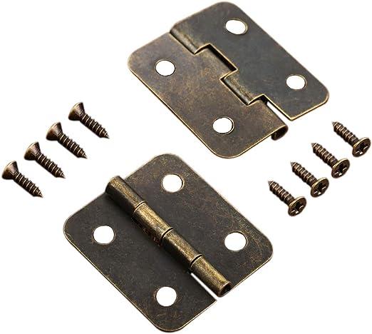 Retro 2Pcs Antique Brass Mini Hinges for Wooden Furniture Box Hardware 36x23mm