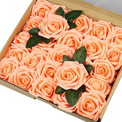 Vlovelife 25pcs Champagne Roses Artificial Flowers Real Looking Fake Roses w/Stem for DIY Wedding Bouquets Centerpieces Arrangements Birthday Baby Shower Home Party Decorations 3 Rose
