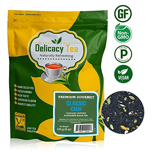 "Delicious Premium Grade All Natural Loose Leaf Spiced Masala ""Classic Chai"" Black Tea Blended with Cinnamon, Clove, Cardamom and Orange, Makes 100 Cups of Enchantingly Delicious Tea from iCulinary,8oz (Teas Tea Blended Ceylon)"