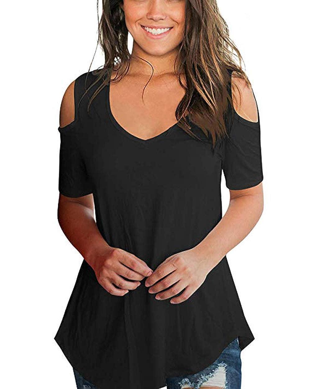 Amazon.com: NuoReel blusa suelta casual con cuello en V y ...