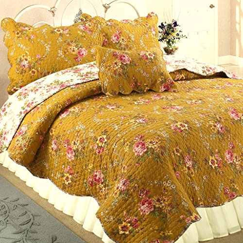Cozy Line Home Fashions Camellia Perry Mustard Yellow Floral Blooming Flower Printed Cotton Vintage Quilt Bedding Set Reversible Coverlet Bedspread for Women (Camellia, King - 3 Piece) ()
