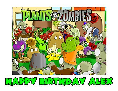 Plants Vs Zombies Edible Image Photo Sugar Frosting Icing Cake Topper Sheet Personalized Custom Customized Birthday Party - 1/4 Sheet - 76550