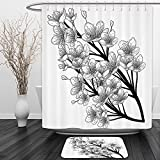 Vipsung Shower Curtain And Ground MatHouse Decor Collection Dead Skull with Flowers Birds and Feathers Gothic Traditional Mexican Calavera Design Black WhiteShower Curtain Set with Bath Mats Rugs