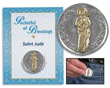 Apostle St Jude Patron of Desperate Situations Two Tone Gold Silver Tone Pocket - Gold Jude