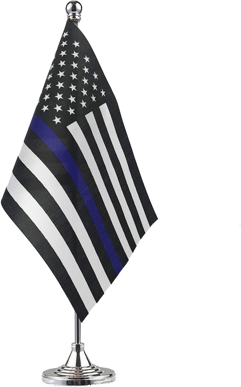 GentleGirl.USA Thin Blue Line USA American Police Table Flag,Stick Small Mini American Police Flag Office Table Flag on Stand with Stand Base, Police Celebration Event,Home Desk Decoration