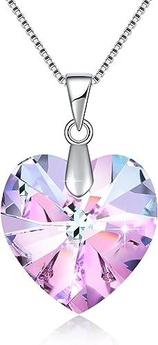 Collier en forme de cœur en cristal rose Swarovski pour femme - Cadeau de  Noël, pierre de naissance - Collier plaqué rhodium