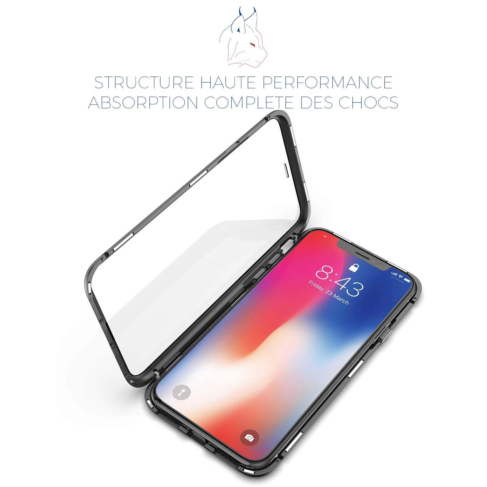 LINCIVIUS  Coque Integrale Compatible avec Apple iPhone XR, Coque de Protection 2 en 1 Aluminium et Verre Trempe Avant Et Arrière Contour Bumper Rigide pour Apple iPhone XR, Noir
