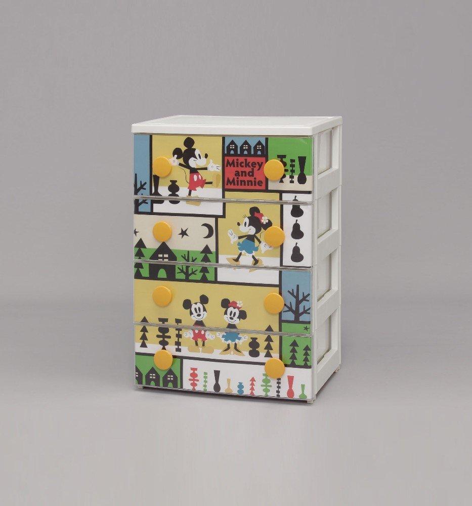 収納 4段 チェスト/収納 ケース 人気の商品 キャラクター 「ミッキーミニー」デザイン キャラクターチェスト 収納家具 衣類 洋服 小物 整理 衣装ケ... B00YO5H1LI