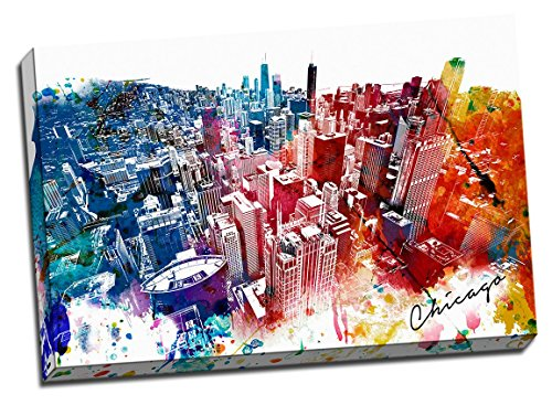 Colorful Downtown Painting Canvas Stretched
