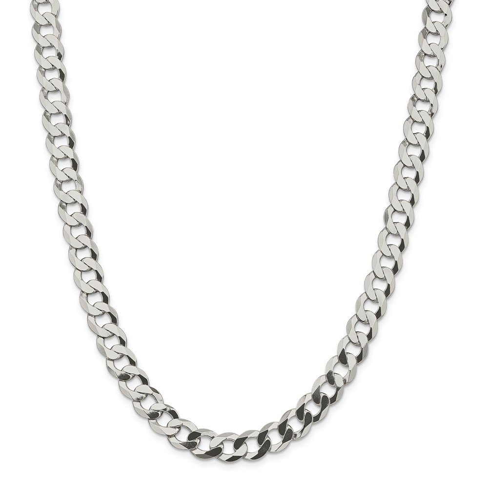 Sterling Silver 9.75mm Close Link Flat Curb Chain