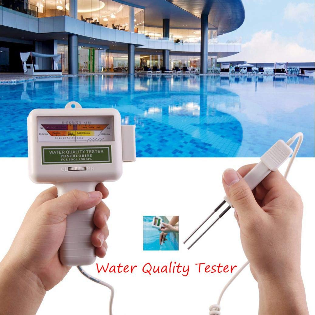 Sunshinehomely Pool Water Quality Detector, PH CL2 Chlorine Level Meter Water Quality Tester Monitor for Swimming Spa