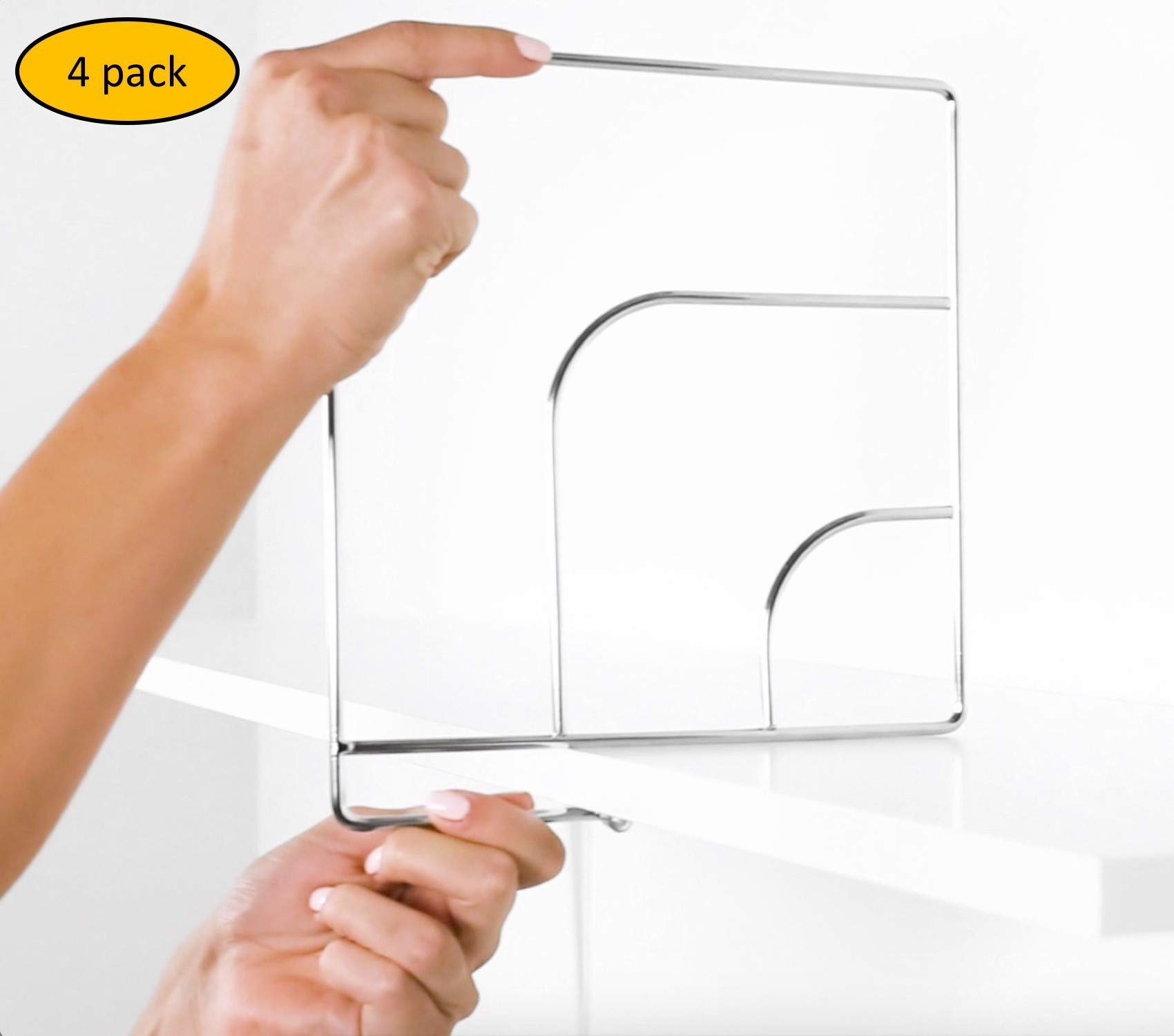 Nessentials Durable Closet Shelf Divider and Separator for Organization and Storage for Home, Kitchen, Appliances, Classrooms, Desks; Pack of 4; Pack of 6 - Simple and Sleek Metal Design (4) by N Essentials