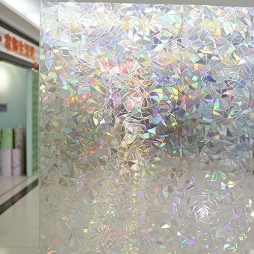 Leyden Cut Glass Geometric No-Glue 3D Static Decorative Glass Window Films 3Ft X 6.5Ft. 90 x 200cm
