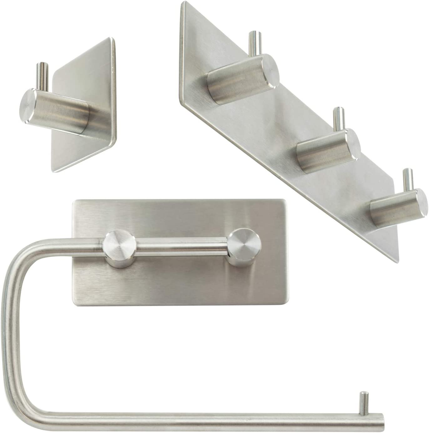Cloakroom Perfect for Shower Toilet Roll TRIXES Toilet Paper Roll Holder and 2 Towel Hooks for Bathroom Kitchen Stainless Steel Accessories Self Adhesive Wall Mounted No Drill Needed