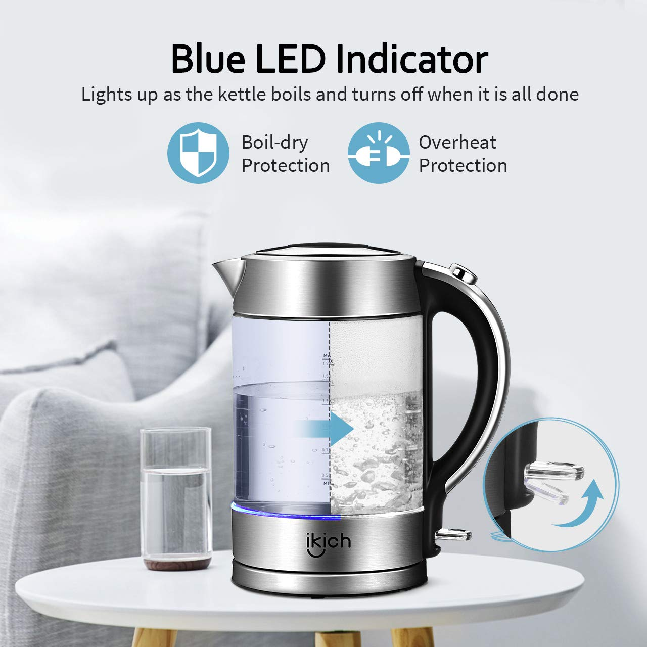 Electric Kettle, IKICH 1.7L BPA-Free Glass Kettle Tea Heater, Hot Water Boiler with LED Light, Auto Shut-Off & Boil-Dry Protection, Stainless Steel Inner Lid & Bottom by IKICH (Image #4)