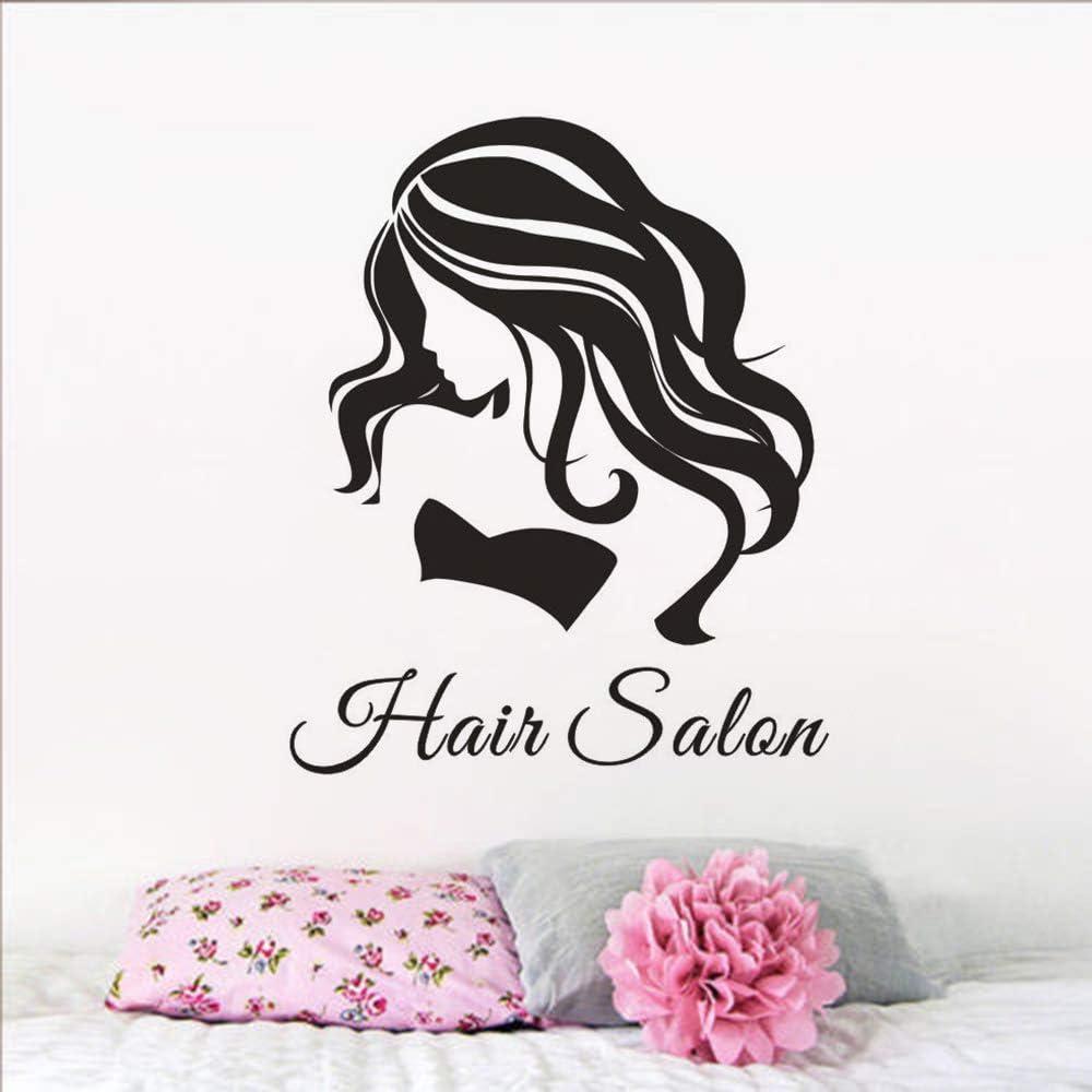 Geiqianjiumai Cartel de Pelo Arte de Pared Vinilo Adhesivo de Pared Belleza niña peluquería decoración de peluquería Etiqueta de Pared de Cabello Desmontable 42 cm x 51 cm
