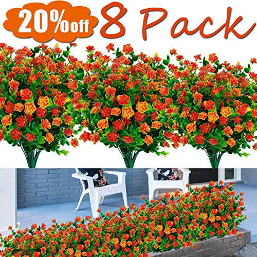 8PCS Artificial Flowers Outdoor UV Resistant Plants, July Now Deals 8 Branches Faux Plastic Greenery Shrubs Plants Indoor Outside Hanging Planter Kitchen Home Wedding Office Garden Decor