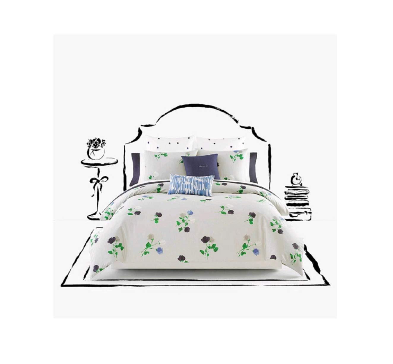 Kate Spade Willow Court Queen Full Comforter Set, Platinum Grey Green Blue Floral