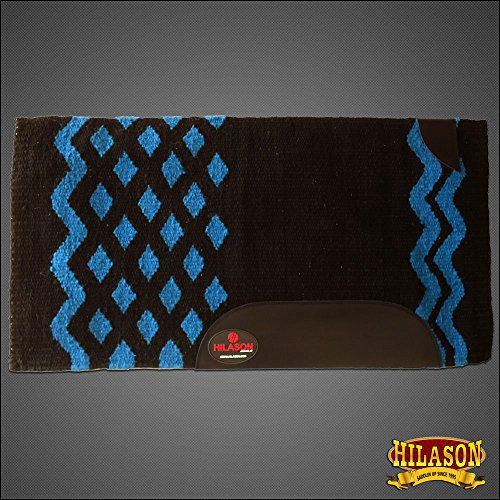 HILASON Western New Zealand Wool Horse Saddle Blanket Black Turquoise