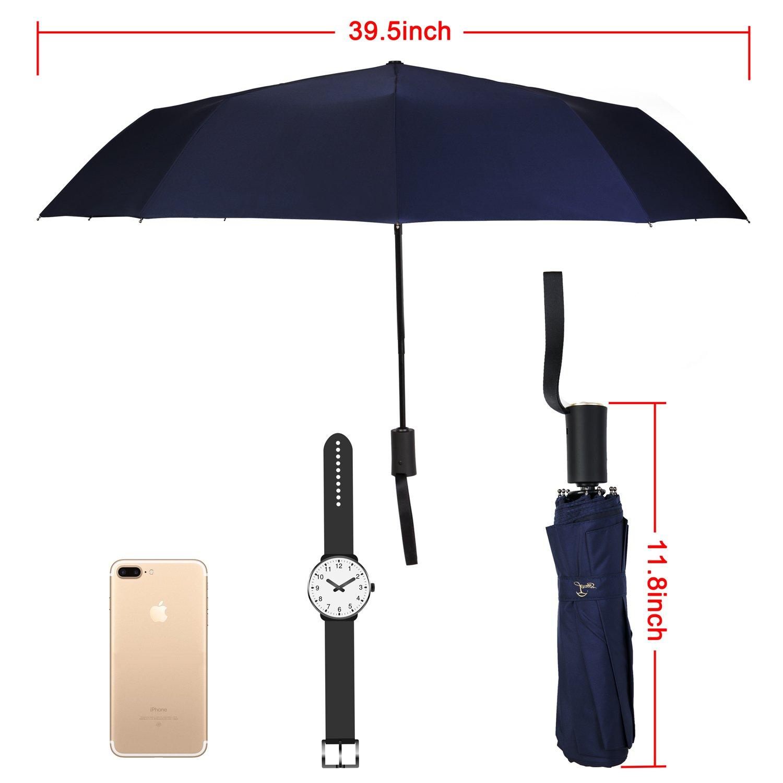 Travel Umbrella,Auto Open & Close, Travel 10 Ribs Folding Golf SizeUmbrella (blue) by Jemess (Image #6)