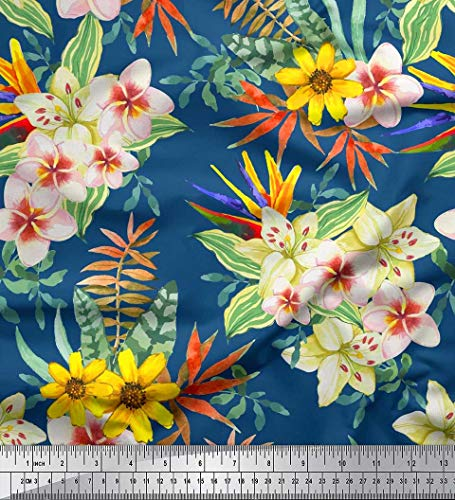 - Soimoi Blue Poly Georgette Fabric Tropical Leaves,Plumeria & Heliconia Flower Decor Fabric Printed BTY 52 Inch Wide