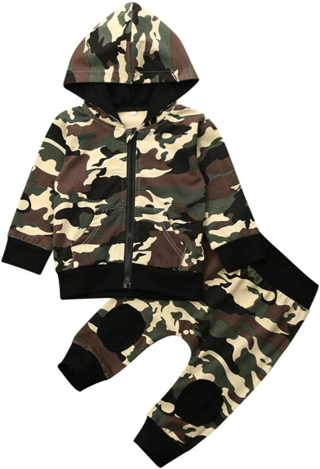 Dannel Newborn Baby Boy Camo Clothes Sets 0-24M Long Sleeve Zipper Hooded Tops Pants Leggings Outfit Set Tracksuit