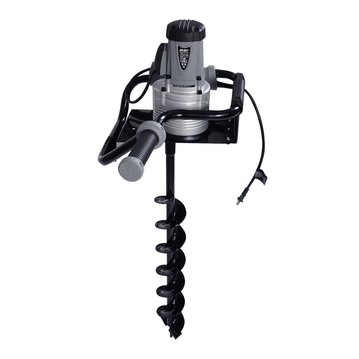 Goplus 1200W Electric 110V 1.6HP Post Hole Digger Earth Soil Ice w/ 4'' Auger Bit