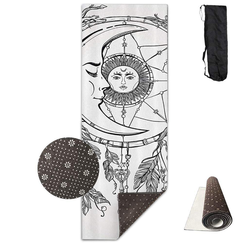 70inch Long 28inch Wide Comfort Velvet Yoga Mat, Ethnic Dream Feathers Sun Moon Mat Carrying Strap & Bag