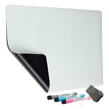 Magnetic Dry Erase Board For Refrigerator - 18x12  Dry Erase Board Calendar For Kitchen Fridge Planner Organizer Sheet Kids Drawing Board - 3 Magnetic Dry Erase Markers and 1 Eraser Included