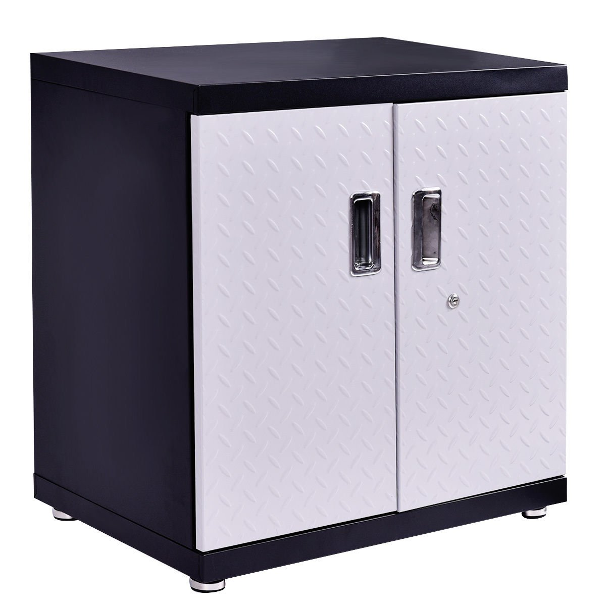 Wall Mount Cabinet Metal Garage Steel Black&SilverStorage Box Organizer 2 Shelves Tool New