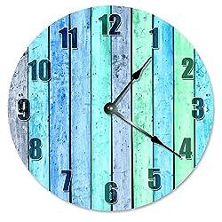 Large 10.5 Wall Clock Decorative Round Wall Clock Home Decor Novelty Clock BLUE GREEN WOOD BOARDS