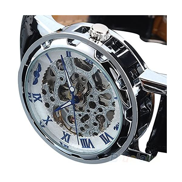 Picvadee Classic Automatic Mechanical Wristwatch Skeleton Steampunk BLUE Unisex Adult 3