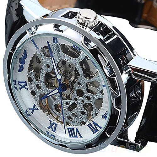 Picvadee Classic Automatic Mechanical Wristwatch Skeleton Steampunk BLUE Unisex Adult